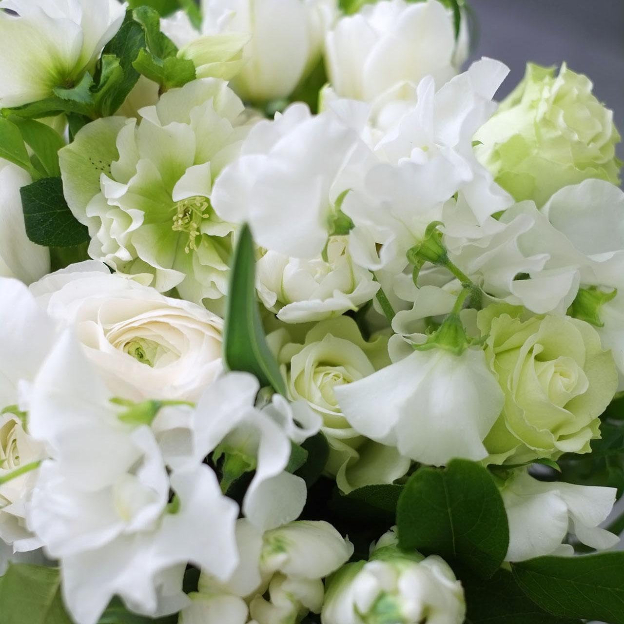 ホワイトグリーンの花々